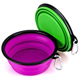 Collapsible Large Size Dog Bowl(7 inches Diameter,34 oz), IDEGG Food Grade Silicone BPA Free, Foldable Expandable Cup Dish for Pet Dog/Cat Food Water Feeding Travel Bowl (Set of 2-Large, Purple+Green) Review