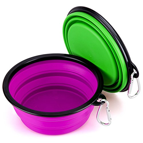 Collapsible Large Size Pet Bowl(7 inches Diameter,34 oz), IDEGG Food Grade Silicone BPA Free, Foldable Expandable Cup Dish for Pet Dog/Cat Food Water Feeding Travel Bowl (Set of 2-Large, Purple+Green)