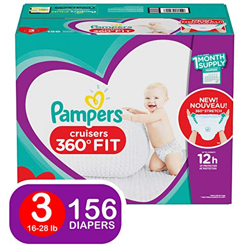 Pampers Diapers Size 3 - Cruisers 360˚ Fit Disposable Baby Diapers with Stretchy Waistband, 156 Count ONE Month Supply