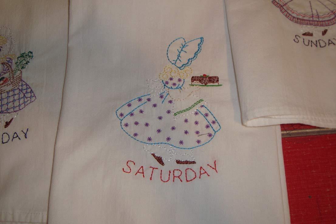 Sunbonnet Sue Days of the Week dish towels, tea towels, flour sack towels