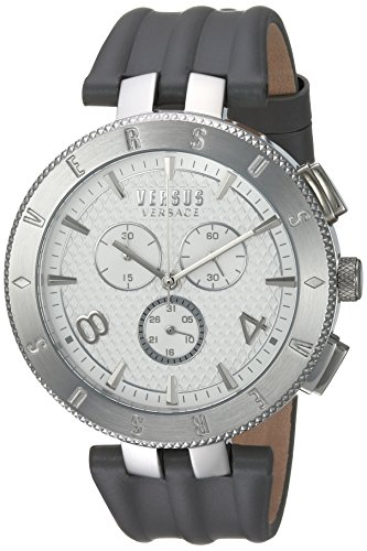 Versus by Versace Men's 'LOGO GENT CHRONO' Quartz Stainless Steel and Leather Casual Watch, Color Grey (Model: S76070017)