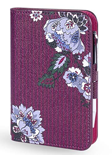 Vera Bradley Leatherette Pocket Journal with Black Ink Pen (Bordeaux Blooms)