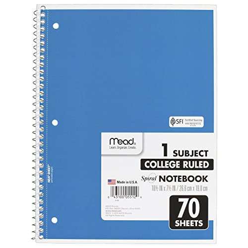 043100055129 - Mead Notebook Spiral 10-1/2 In. X 8 In. 3 Hole Punch - Assorted Colors carousel main 4