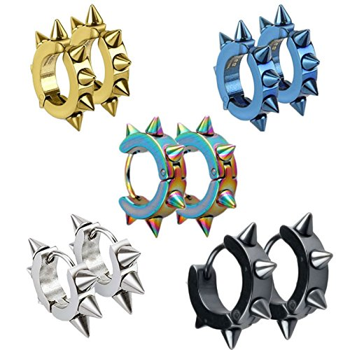 UM Jewelry Men Women Spikes Studded Surgical Stainless Steel Punk Spiky Round Huggie Hoop Earrings