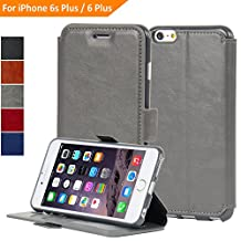 NAVOR® Ultra Slim Protective Flip Wallet Case for iPhone 6 Plus / 6S Plus [5.5 Inch] - Grey (IP6PTGR)