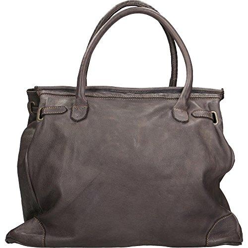 main Sac 39x33x15 Chicca tressé Italy En Vintage femme Gris in à Cm Made cuir Borse authentique FqxA5