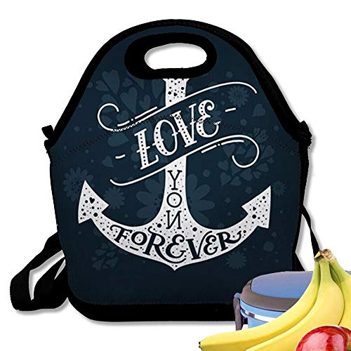 Insulated Neoprene Lunch Bag Valentines Day Letters and Anchor Love You Ever Typography Stamp Line Art Tattoo Romantic Quote Reusable Soft Lunch Tote for Work and School