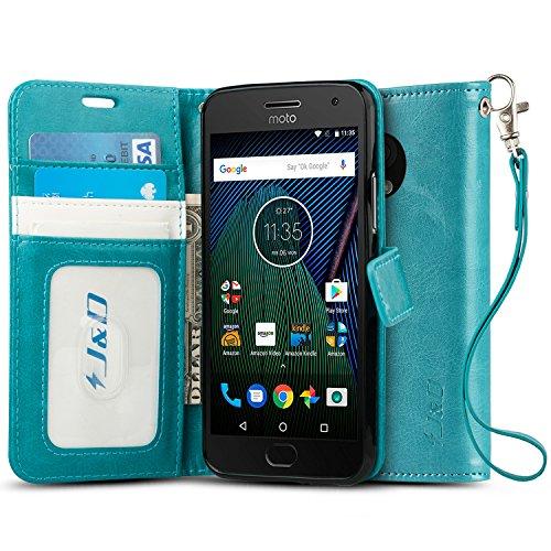 J&D Case Compatible for Moto G5 Plus Case, [Wallet Stand] [Slim Fit] Shock Resistant Flip Cover Wallet Case for Motorola Moto G5 Plus (5.2) Wallet Case - [NOT for Moto G5 5.0/Moto G5S/Moto G5S Plus]