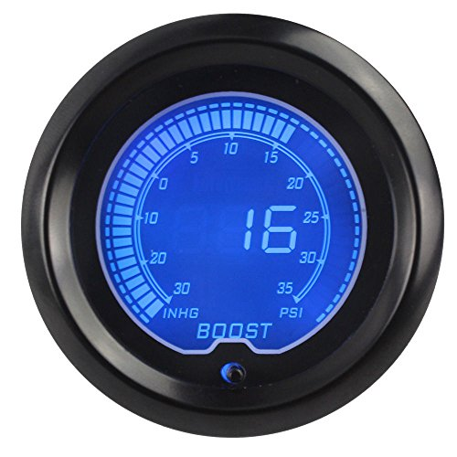 Car universally LCD Digital Display Boost Gauge 30-35psi With Turbo Sensor Boost Gauge: