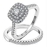 3UMeter 925 Sterling Silver Bridal Sets CZ Wedding Rings Shining Engagement Ring Set for Women Size 8