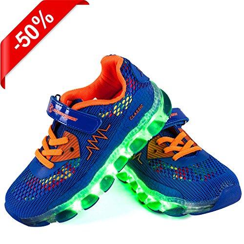 Shinmax Lumière Chaussures, Chaussures Led Led Sneakers Respirant 7 Couleurs Chaussures Légères Pour Hommes Et Femmes, Chaussures Pour Enfants Bleu Foncé