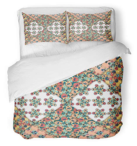 Emvency 3 Piece Duvet Cover Set Brushed Microfiber Fabric Breathable Colorful Abstract Patchwork Arabic with Geometric and Floral Ornaments Vintage Bedding Set with 2 Pillow Covers Twin Size