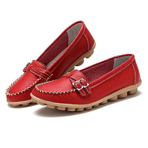 ... Mocassins De La Femme De La Fisca Glissement Sur Des Chaussures Plates  Mocassins Rouge ...