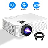 Portable Projector, PONER SAUND GP9 Projector 2000 LUX LED Mini Projector, 1080P Supported Video Projector with 170 LCD, Compatible with Ipad, Fire TV Stick, PS4, HDMI, VGA, TF, USB