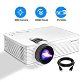 Portable Projector, PONER SAUND GP9 Projector 2000 LUX LED Mini Projector, 1080P Supported Video Projector with 170'' LCD, Compatible with Ipad, Fire TV Stick, PS4, HDMI, VGA, TF, USB