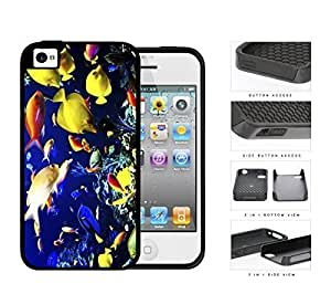 Colorful Fish Aquarium Water Tank 2-Piece High Impact Dual Layer Black Silicone Cell Phone Case iPhone 4 4s