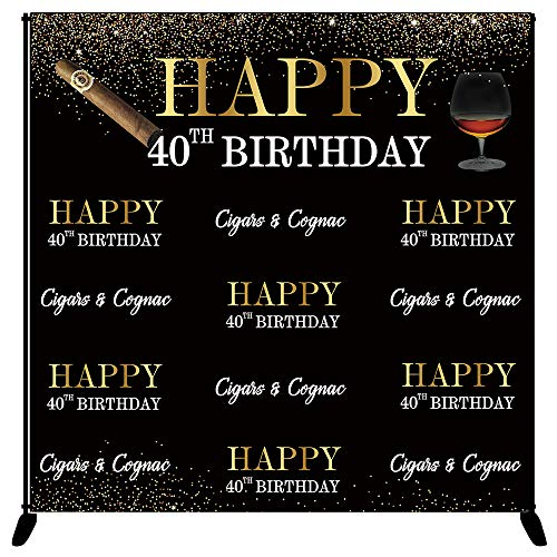 Mehofoto Happy 40th Birthday Backdrop Gold Black Cigars & Cognac Photography Background 8x8ft Vinyl 40th Birthday Party Banner Decoration Supplies