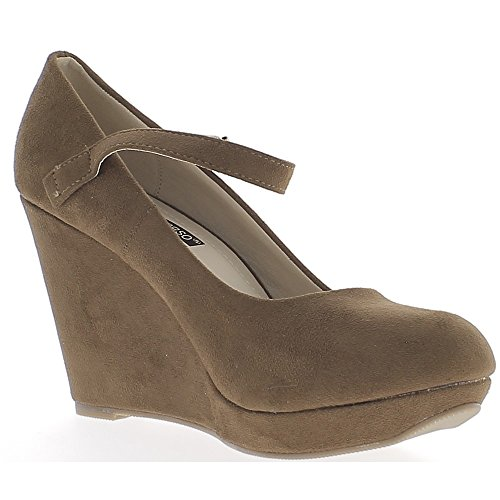 ChaussMoi Offset Brown at 9.5 cm Appearance with Thin Flange Suede Heel S8GYZN