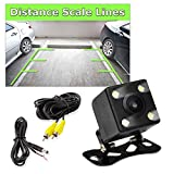 Pyle PLCM4LED Car Jeep Van Bus Backup Rearview Camera Parking/Reverse Kit, Waterproof Night Vision Cam, Distance Scale Lines, Swivel Angle Adjustable Cam