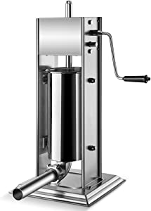 Flexzion Sausage Stuffer Maker Grinder Filler - (5L) 11 Lb Vertical Stainless Steel Two Speed Homemade & Commercial Grade Hand Crank Meat Press Machine Equipment with 4 Stuffing Tube Attachment