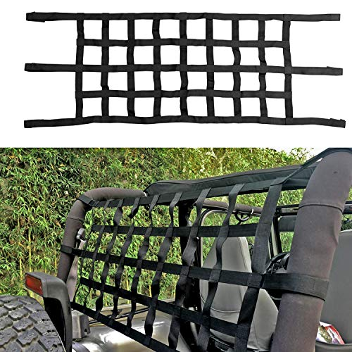cartaoo Jeep Cargo Net Heavy Duty Industrial Fabric Roof Net for Jeep Wrangler TJ (1997-2006) JK (2007-2017) JL 2018