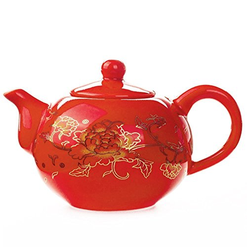 Chinese Porcelain Teapot 180ml - Ceramic Tea Pots Home Decor Vintage Red China Traditional Kung Fu Tea Sets - Asian Teapot Gifts for Friends (Teapot)