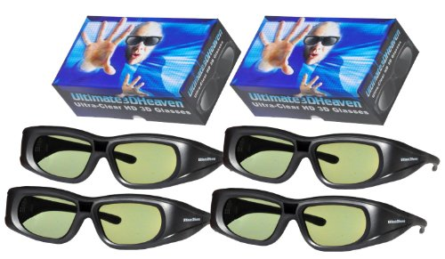 4 Rechargeable Ultra-Clear 3D Glasses for Toshiba 3D Televisions