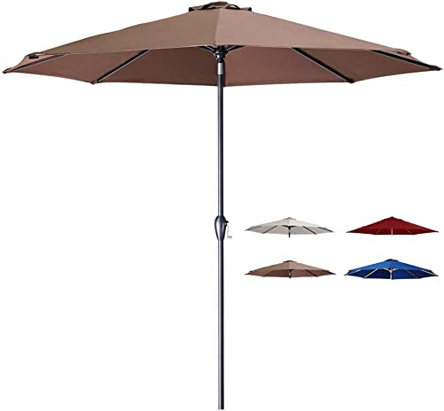 Tempera 10 Ft Patio Umbrella Outdoor Garden Table Umbrella with Crank and Auto-Tilt Function,8 Steel Ribs in 200G Chocolate Olefin
