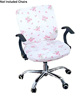 Perktail Removable Office Chair Cover with Floral Pattern Elasticized Dorm Computer Rotating Chair Slipcover Washable Seat and Back Cover (White Pink Jasmine)