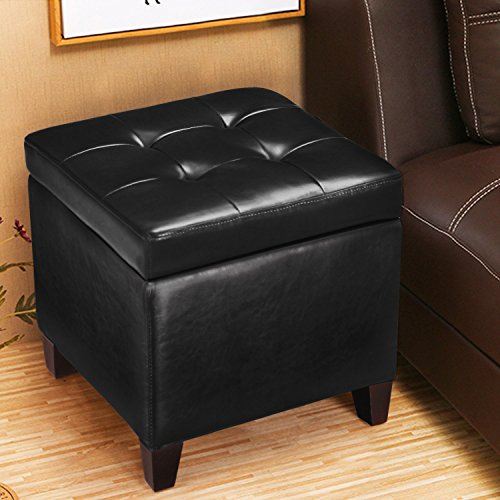 DecentHome Tufted Bonded Leather Square Storage Ottoman Footstool, Black (Storage Footstool Leather)