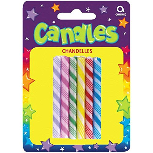 Large Candy Props (Party Time Large Candy Cane Novelty Birthday Candles, Pack of 6, Multi , 2.5