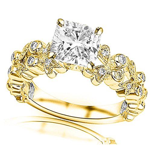tified Cushion Cut 14K Yellow Gold Butterfly Bezel And Pave Set Round Diamond Engagement Ring (I-J Color VS1-VS2 Clarity Center Stones) (Pave Diamond Bezel)