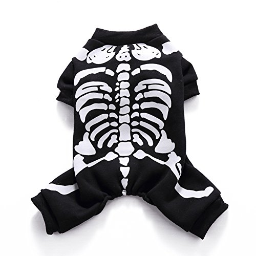 Adarl Pet Halloween&Christmas Costumes Skeleton Clothes Apparel Set for Puppy Dog Cat XL -