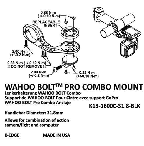 K Edge Unisex Erwachsene K13 1600c Wahoo Bolt Pro Combo Mount Halterungen Black Anodize One Size Sport Freizeit
