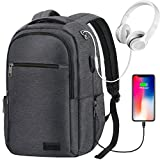 Travel Laptop Backpack, Anti Theft Business Computer Bag with USB Charging, Water Resistant Durable College School Daypack for Teens Boys Girls Men Women, Fits 15.6-Inch Macbook Laptop, Dark Gray