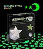 Glowing in the Dark Stars Wall Stickers Adhesive 200 Stars and 1 Glowing