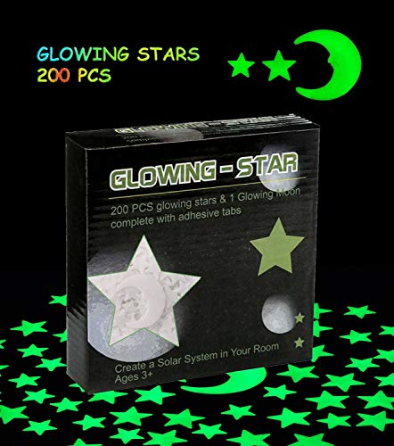 Glowing in the Dark Stars Wall Stickers – Glowing Reusable Ceiling Decors of 220 Stars and 1 Moon Set for Kids Bedding Rooms or Birthday Party