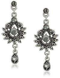 1928 Jewelry Silver-Tone Hematite-Color Crystal Drop Earrings
