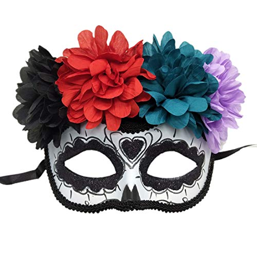 Rehoty Women's Masquerade Mask Mexican Day of The Dead Sugar Skull Eyemask Halloween Mask (Black)