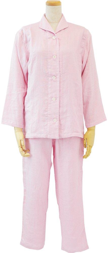 内野 レディースパジャマ ピンク L マシュマロガーゼ ギンガムチェック 素肌に心地良い RPZ18313 L P B07BHYF2Z6 Large|ピンク ピンク Large