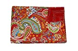 Red Paisley Print Kantha Work Quilt, Traditional Indian Cotton Bedspread, Twin Size Blanket
