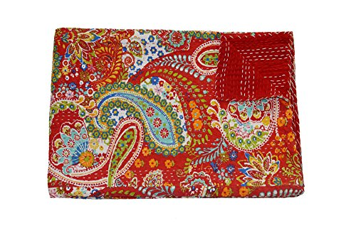 The Ethnic Crafts Red Paisley Print Kantha Work Quilt, Traditional Indian Cotton Bedspread, Twin Size Blanket (Sparrow Twin Bed)