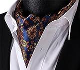 Elfeves Mens Blue Orange Floral 100% Silk Cravat Ties Jacquard Woven Ascot