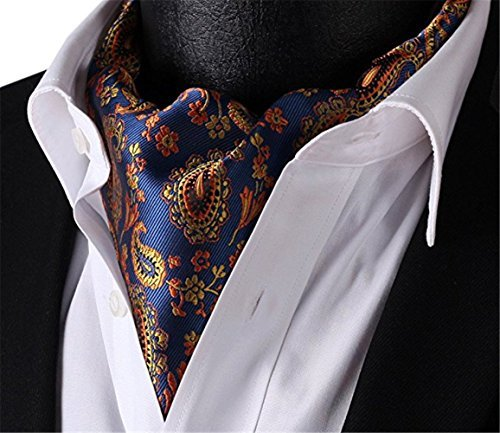 Allbebe Men's Blue Orange Floral 100% Silk Cravat Ties Jacquard Woven Ascot (Silk Ascot)