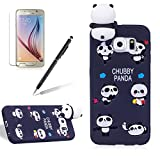 For Samsung Galaxy S6 Edge Case,Girlyard New Fashion Girly Lucky 3D Cute [Papa Animal Pattern] Soft Silicone Practical Shockproof Slim Protective Back Case Cover for Samsung Galaxy S6 Edge-Black Panda