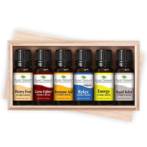 Plant Therapy Top 6 Essential Oil Synergies Set. Includes: Stress Free, Energy, Germ Fighter, Relax, Immune-Aid, and Pain Aid. 10 mL (1/3 Ounce) each.