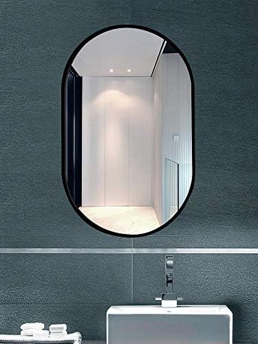 TMGY Modern Vanity Mirror for Living Room Bathroom Bedroom,Black Oval Mirror Wall Mounted 27.5 x19.6 ,Large Black Mirrors for Wall Decor Ornate Mirror,Big Metal Frame Wall Mirror Antique Mirror