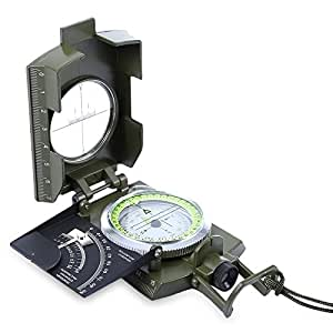 JTL Outdoor Gear's Prismatic Luminous Compass with Pouch - Military Grade Geology Water Resistant Equipment - An Authentic Pointing Guide for Outdoor Activities