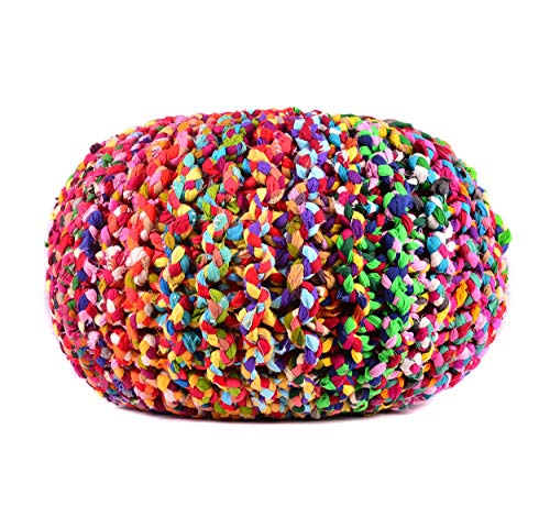 MystiqueDecors Large Multicolor Hand Knitted Pouf Ottoman Cotton Braided Round Floor Comfortable Seat Footstool 20