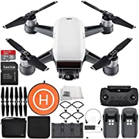 DJI Spark Portable Mini Drone Quadcopter Fly More Combo Landing Pad Bundle (Alpine White)